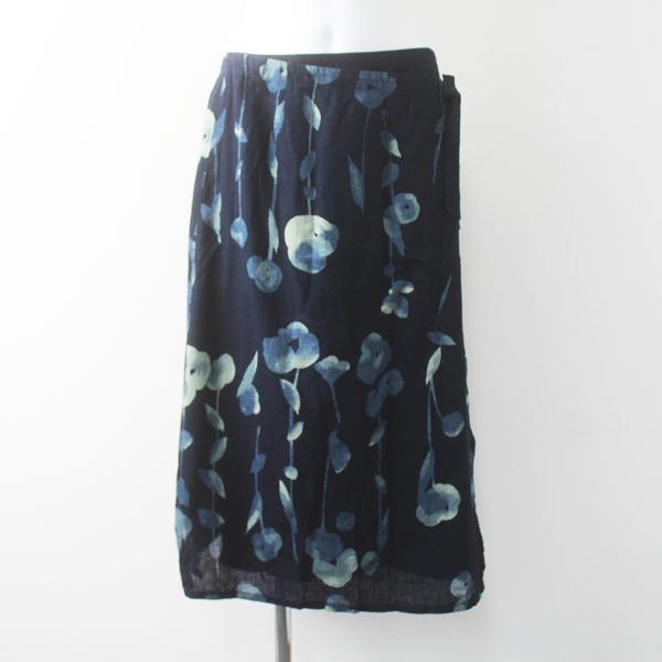 Pal'las Palace パラスパレス コットン インディゴ フラワー模様 巻きスカート 0/ネイビー ボトムス【2400011531087】