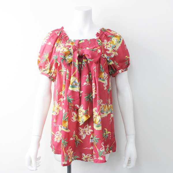 極美品 定価2.9万 Jane Marple Dans Le Salon ジェーンマープルドンルサロン リボン アロハブラウス / ピンク【2400011533104】
