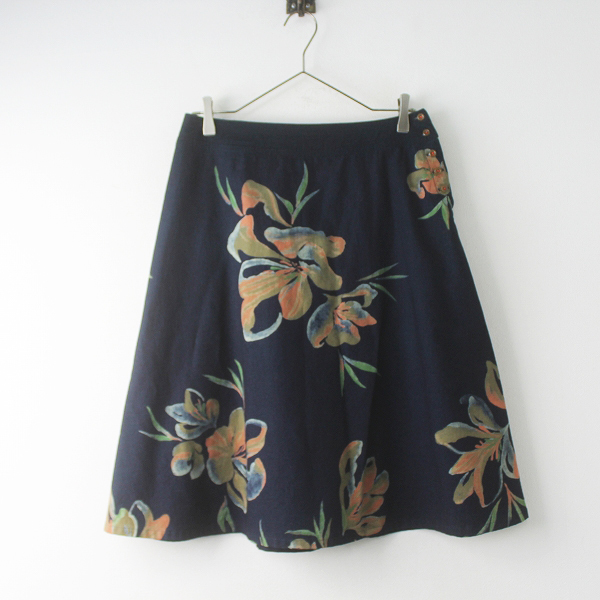 Pal'las Palace パラスパレス 花柄 台形 スカート 2/ネイビー サイドボタン ミモレ丈 ボトムスフラワープリント【2400011533272】
