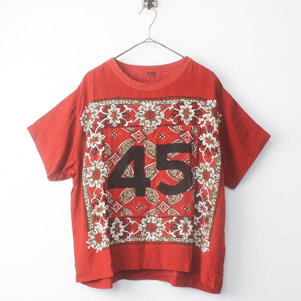 45R フォーティーファイブ レーヨンのバンダナ Tシャツ 0/45rpm レッド トップス カットソー【2400011533616】