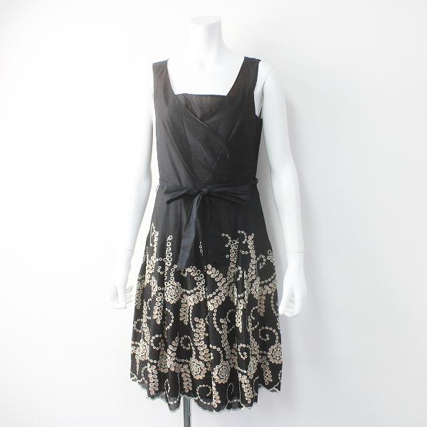 TOCCA トッカ フラワー スカラップ 刺繍 カシュクール ワンピース 4/ブラック ドレス フレア【2400011534194】