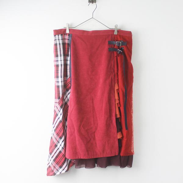新品 大きいサイズ as know as olaca アズノゥアズ オオラカ MIX マニアスカート チェックフリルドッキングデザイン 19 /【2400011537157】
