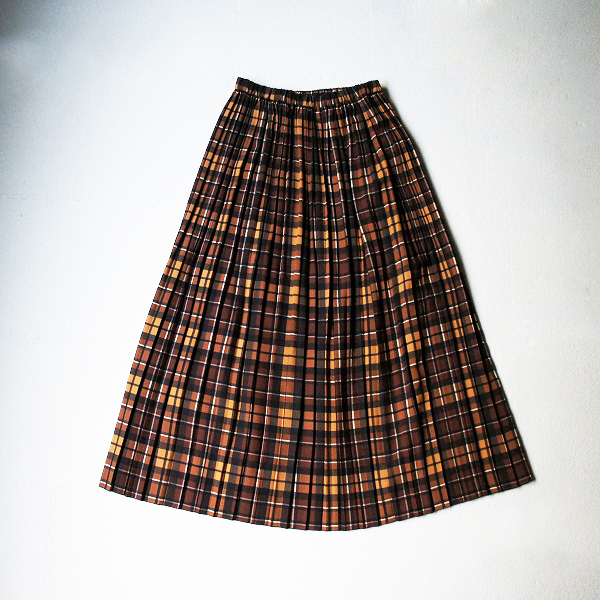 未使用品 2018AW IENA イエナ チェック プリーツ スカート 38/ブラウン ボトムス ウエストゴム ロング【2400011537614】-.