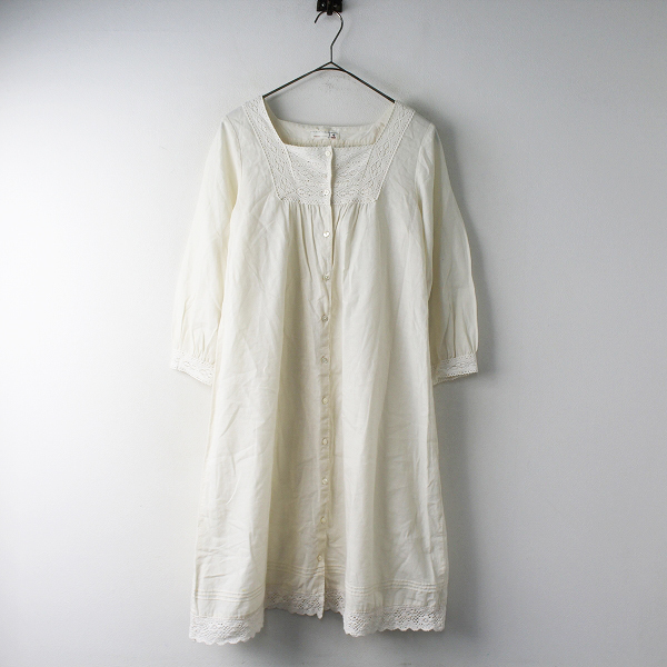 SM2 サマンサモスモス コットン スクエアネック レース刺繍 シャツ ワンピース M/ホワイト フレア【2400011542656】