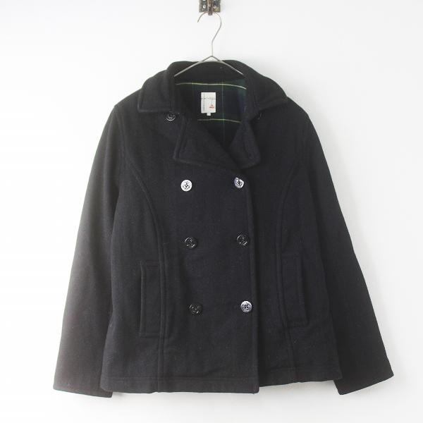 SM2 サマンサモスモス 裏チェック ウール Pコート M/ブラック アウター 上着 羽織り【2400011542748】