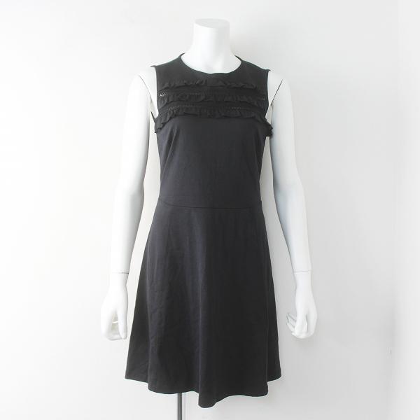 REDVALENTINO レッドヴァレンティノ フリル ティアード ノースリーブ ワンピース XS///ブラック ドレス【2400011544063】