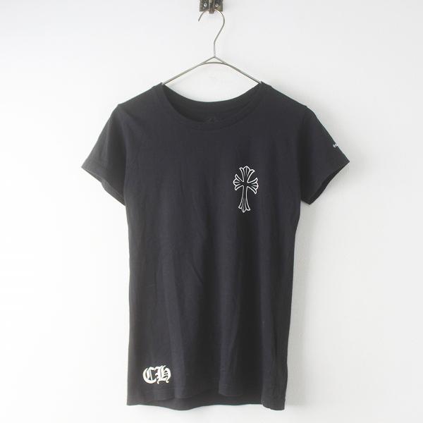 CHROME HEARTS クロムハーツ クロス バックプリント Tシャツ SMALL///ブラック 黒 半袖 トップス カットソー 【2400011544100】