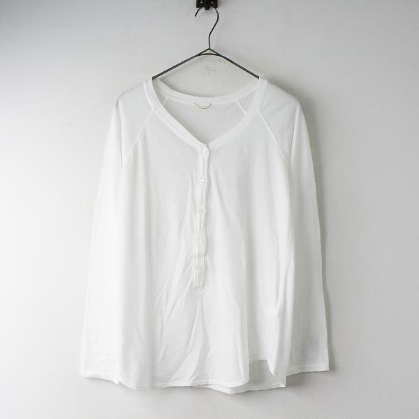 美品 DEUXIEME CLASSE ドゥーズィエムクラス 2019SS コットン Henly テンジク Tシャツ F / ホワイト トップス -.【2400011544698】