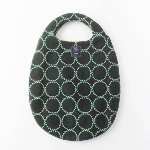 美品 mina perhonen ミナペルホネン tambourine エッグバッグ/グリーン トートバッグ 刺繍 BAG【2400011545121】