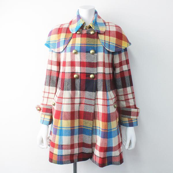 Lois CRAYON ロイスクレヨン ラウンドカラー ウール チェック コート M/アウター 上着 長袖 羽織り【2400011547521】