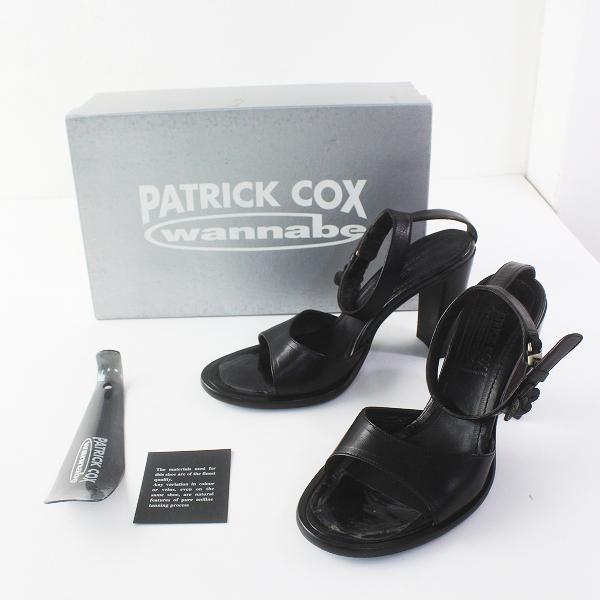 PATRICK COX パトリックコックス レザー サンダル 36.5/クロ ブラック 靴 シューズ【2400011548054】