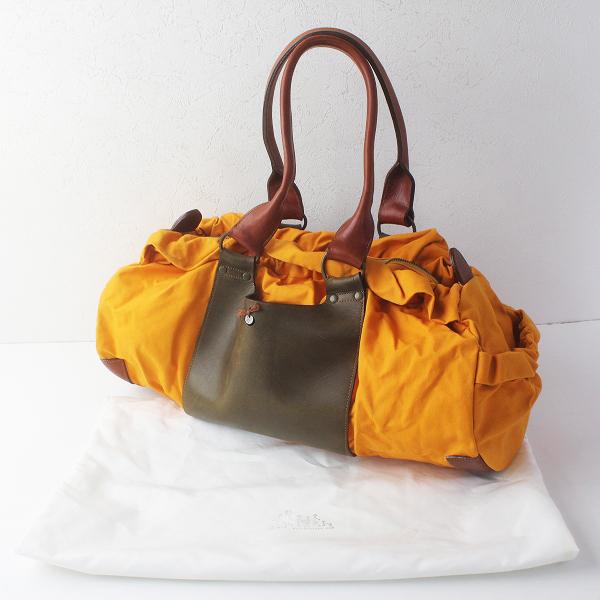 ebagos エバゴス キャンバス X レザー ハンド バッグ/オレンジ ブラウン かばん BAG 鞄【2400011548085】