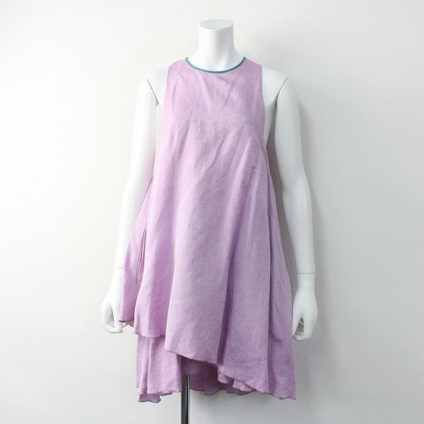 定価7.4万 MYLAN マイラン リネン シルク フレア ワンピース F/ピンク Aライン ノースリーブ ドレス【2400011551061】