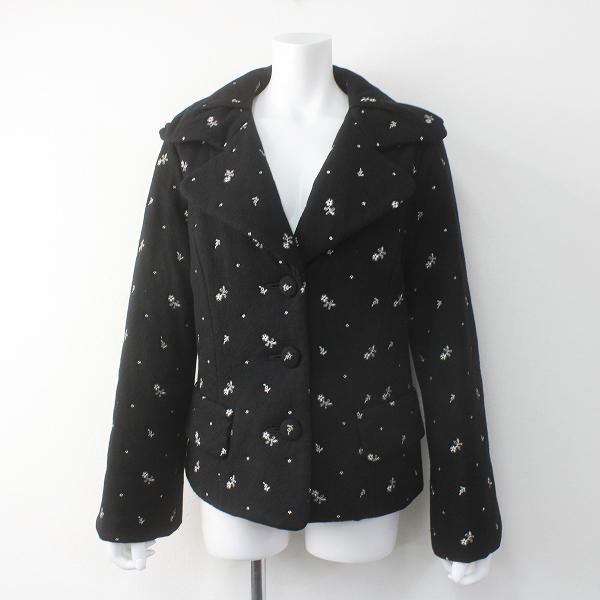 INGEBORG インゲボルグ フラワー刺繍 ウール ジャケット L/ブラック アウター 上着 長袖【2400011551252】