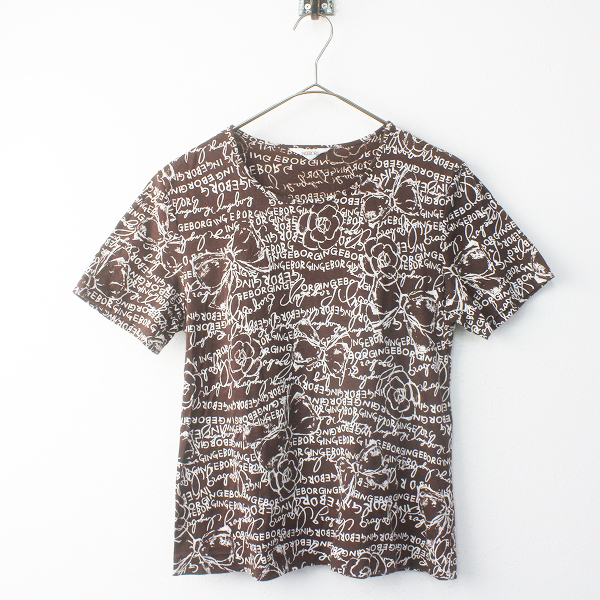 INGEBORG インゲボルグ ドット ロゴ ローズプリント Tシャツ L/ブラウン トップス カットソー【2400011551320】