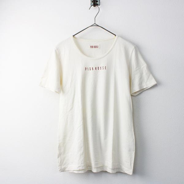 PINK HOUSE ピンクハウス ロゴプリント バックリボン Tシャツ L/アイボリー トップス カットソー【2400011551344】