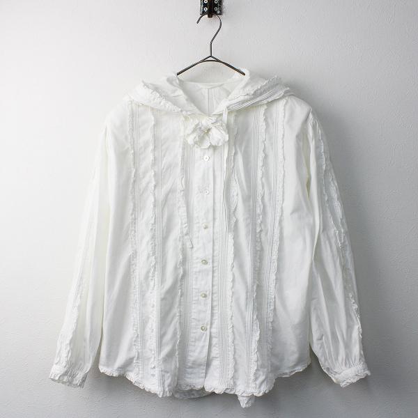 PINK HOUSE ピンクハウス ピコフリル フード ブラウス/ホワイト トップス 羽織り 長袖【2400011551399】