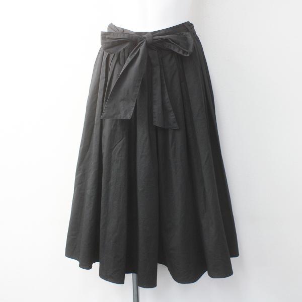 Lois CRAYON ロイスクレヨン コットン ギャザー タック フレア パンツ M/ブラック ボトムス【2400011552501】