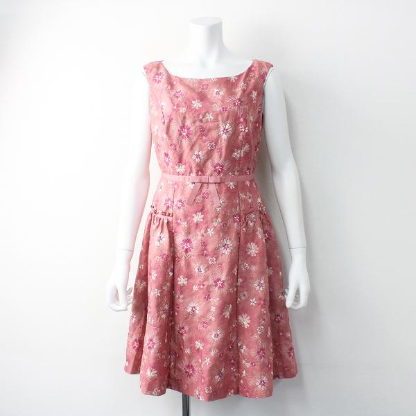 TOCCA トッカ フラワー刺繍 ノースリーブ ワンピース 0/ピンク ドレス 膝丈【2400011552662】
