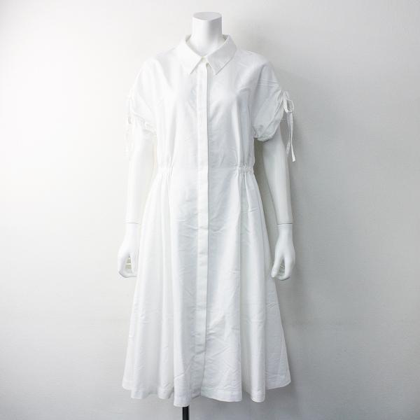 ADEAM FOXEY アディアム フォクシー 38925 ギャザー シャツ ワンピース 0///ドレス ホワイト フレア【2400011553508】