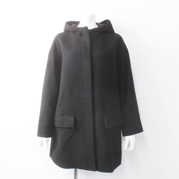 IENA イエナ アンゴラ混み ビーバー フード コート/ブラック アウター 上着 長袖 羽織り【2400011554864】
