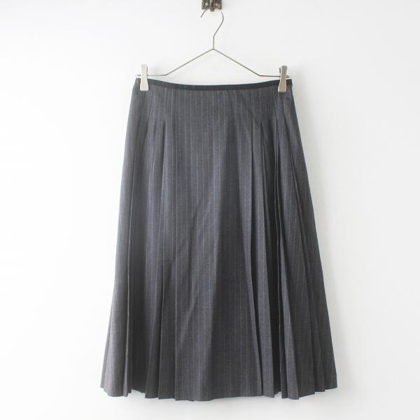 極美品 Lois CRAYON ロイスクレヨン ピンストライプ テック入り ウール プリーツ スカート M/グレー ボトムス【2400011555113】