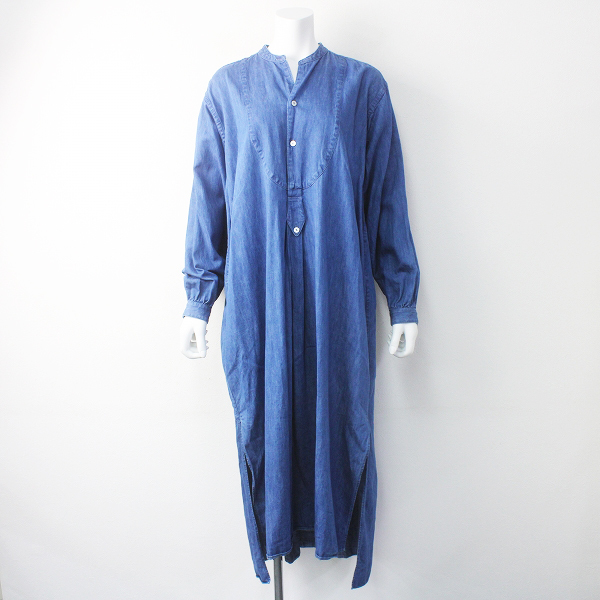 ARGUE アギューCOTTON LINEN DENIM FRENCH VINTAGE EVENING DRESS FREE/ブルー デニム ワンピース【2400011555809】