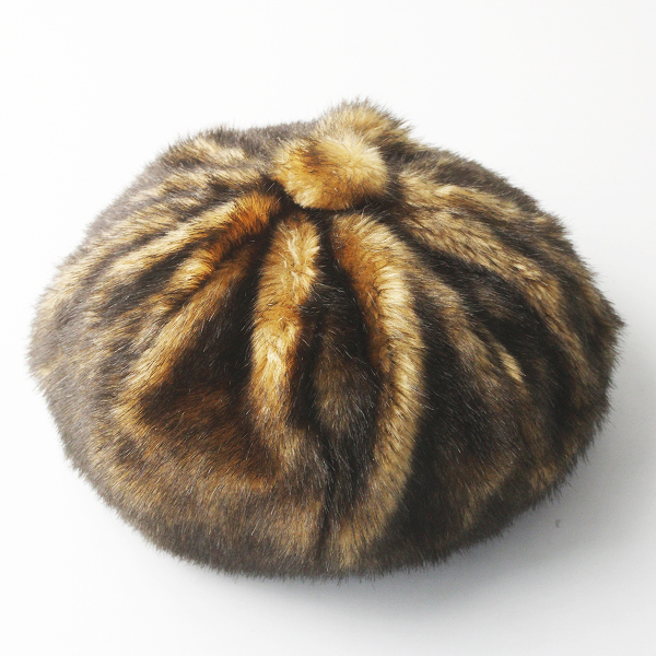 美品 arth アース ファートップ ギャザー ベレー帽 57cm/ブラウン 茶 アクセサリー 小物 帽子 どんぐり帽【2400011555861】