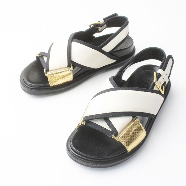 MARNI マルニ FUSSBETT フスベット レザー クロス サンダル バイカラー /ホワイト系 シロ 靴 くつ シューズ【2400011556073】