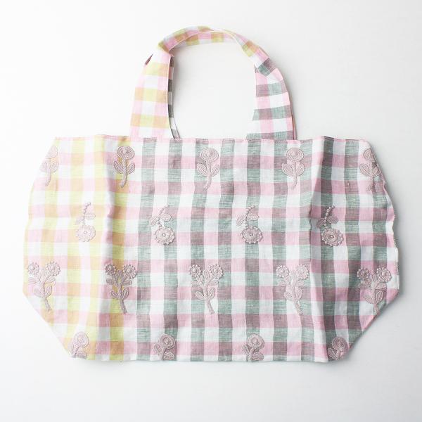 未使用 2019SS 春夏 mina perhonen ミナペルホネン xs9577 bonheur 刺繍 パニーニバッグ/ピンク × イエロー 【2400011556158】