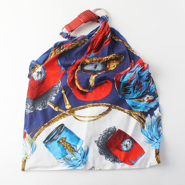 美品 定価2.4万 manipuri マニプリ コットン シルク スカーフ バッグ/ブルー系 トート BAG 肩掛け【2400011556219】