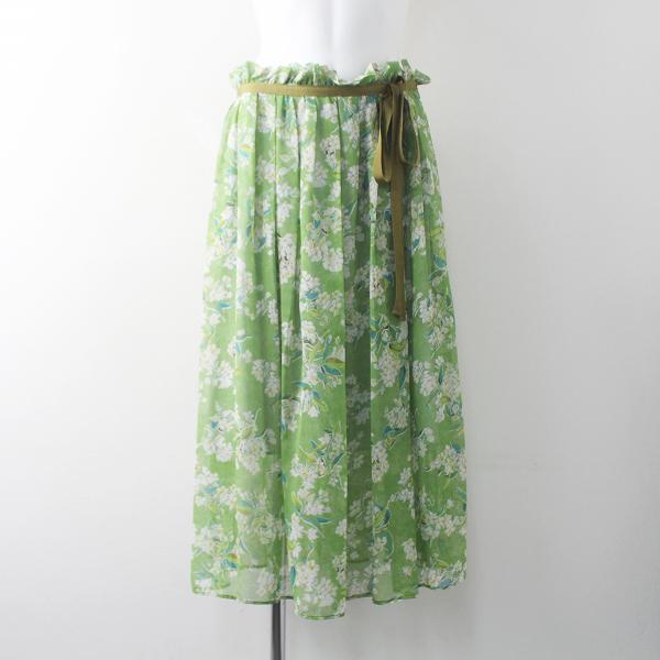 2018 春夏 Lois CRAYON ロイスクレヨン チェリーブロッサム プリント スカート M/30年製 グリーン ボトムス【2400011556974】