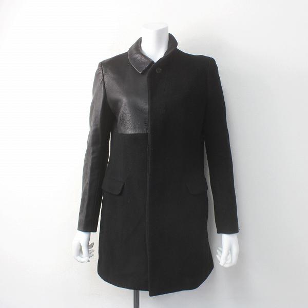 Yohji Yamamoto ヨウジヤマモト レザー 切り替え ウール ロングコート///ブラック アウター 羽織り 上着 長袖【2400011557025】