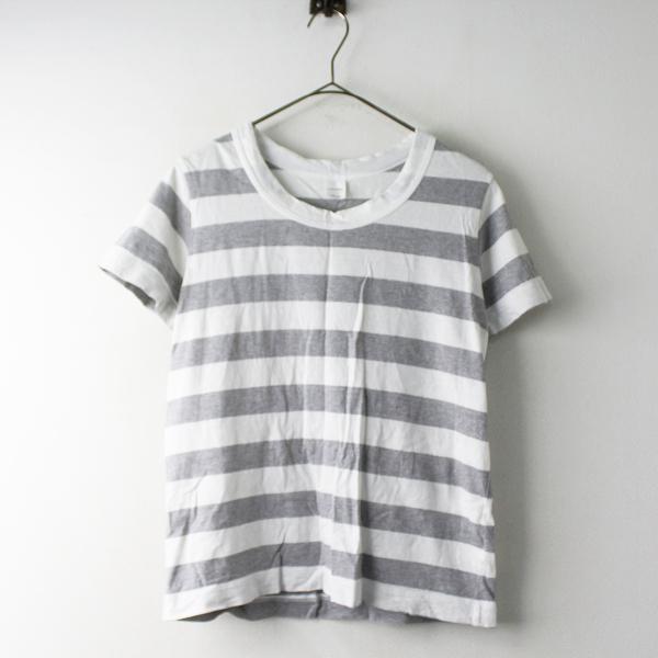 LAITERIE レイトリー コットンボーダーTシャツ/ホワイト グレー トップス【2400011557179】