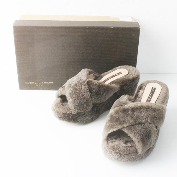 PELLICO SUNNY ペリーコサニー ボア ウェッジ サンダル 36/ブラウン シューズ 靴【2400011557438】