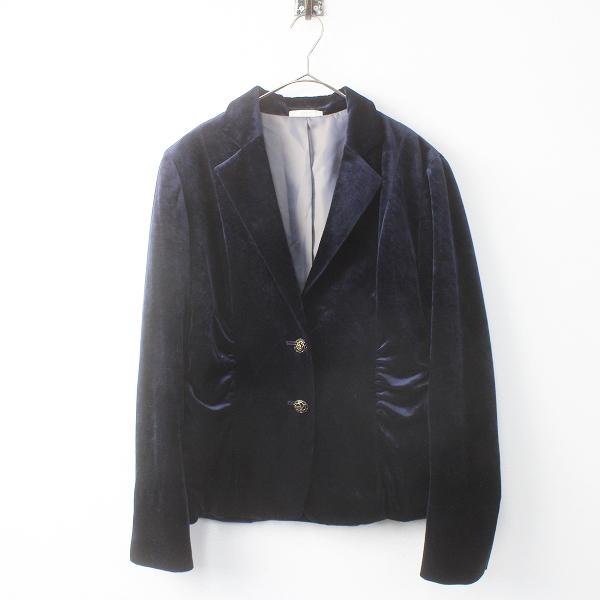 ROPE' ロペ ギャザー ベロア ジャケット/ネイビー アウター 上着 長袖 羽織り【2400011558657】