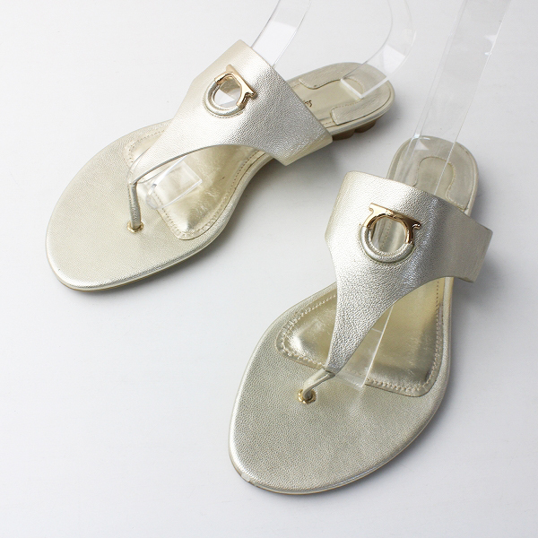 SALVATORE FERRAGAMO サルヴァトーレフェラガモ メタリック レザー トング サンダル 10.5///シルバー 靴 くつ シューズ【2400011558916】