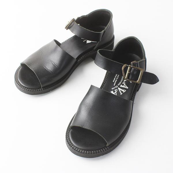 MUKAVA ムカヴァ レザー ストラップ サンダル 22.5/ブラック クロ 靴 シューズ【2400011558961】