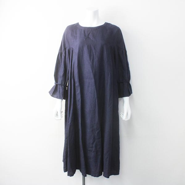nest Robe ネストローブ 袖デザイン ギャザー ワンピース/ネイビー フレア ロング 長袖【2400011560247】
