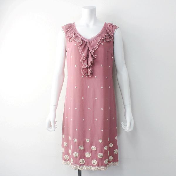 新品 TOCCA トッカ フラワー 刺繍 フリル ワンピース ///ピンク DRESS ドレス ひざ丈【2400011560308】