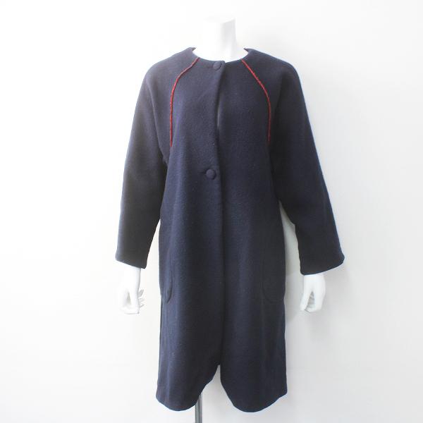 bulle de savon ビュルデサボン ウールノーカラーコート F/ネイビー アウター 羽織り【2400011560476】