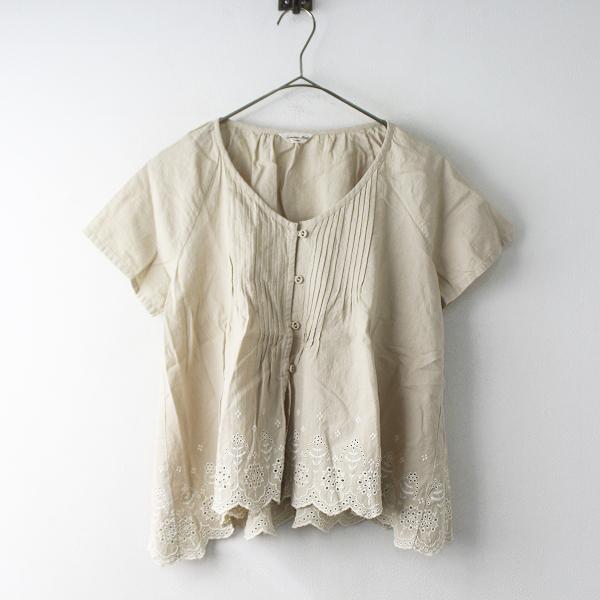 SM2 サマンサモスモス コットン リネン ピンタック 裾 刺繍 半袖 シャツ M/ベージュ トップス【2400011560674】