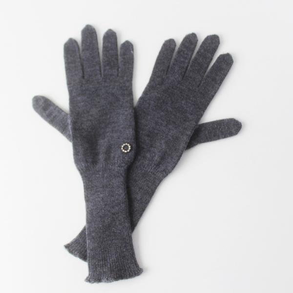 mina perhonen ミナ ペルホネン peau d'hiver 手袋 tambourine モチーフ 付き グローブ /グレー カシミヤ100%【2400011561213】