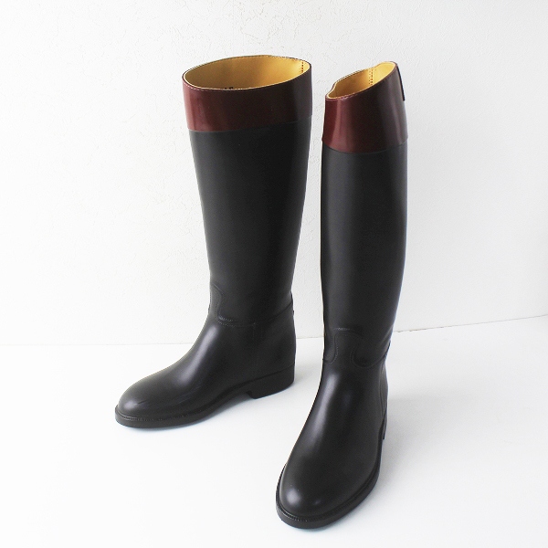 AIGLE エーグル バイカラー レインブーツ 37/ブラック クロ バイカラー 長靴【2400011561466】