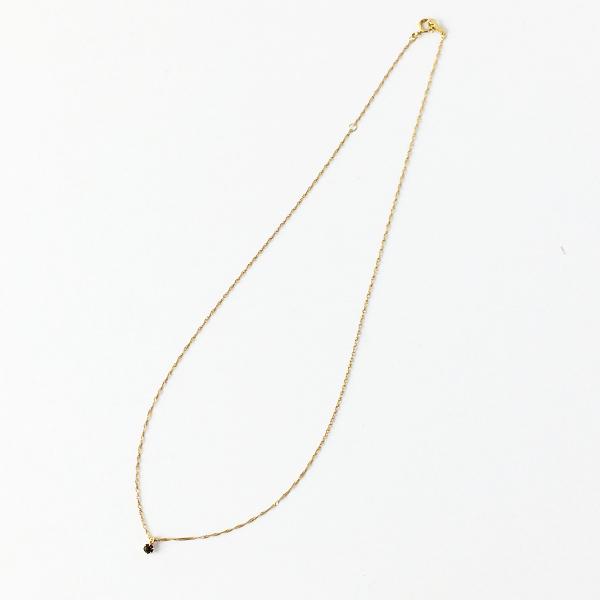 美品 agete アガット ブラックダイヤ 0.05CT ネックレス K18 イエローゴールド/アクセサリー ジュエリー【2400011561671】