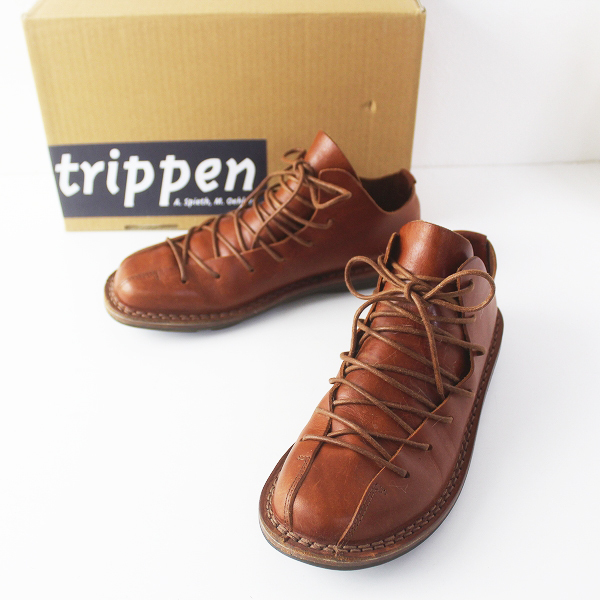 trippen トリッペン tyler タイラー レースアップ レザー シューズ 37/ブラウン フラット クツ 【2400011562555】