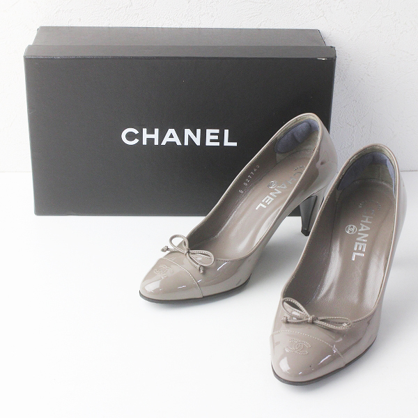 CHANEL シャネル ココマークステッチ エナメル レザー リボン パンプス 36///グレージュ シューズ 靴【2400011563040】