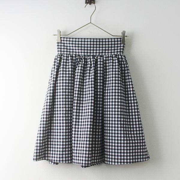 極美品 Maison de FLEUR Petite Robe メゾンドフルール プチローブ ギンガム フレアスカート S/ネイビー【2400011563484】