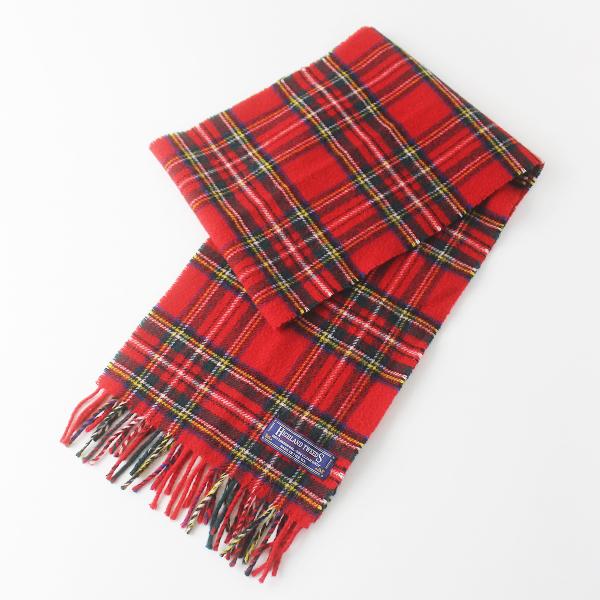 Highland Tweeds ハイランドツイード ウール チェック フリンジ マフラー/レッド ストール 【2400011564030】