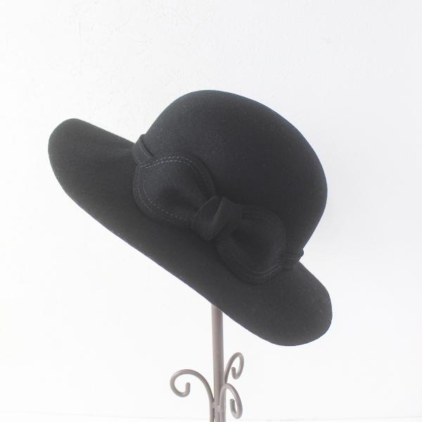 美品 CA4LA カシラ フェルトウール リボン つば広 ハット/ブラック 帽子 HAT ボーラー ぼうし【2400011564115】